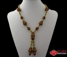 This elegant and sparkly necklace is a beautiful mix of different beading technique: Cubic Right Angle Weave, Netting, Peyote stitch...