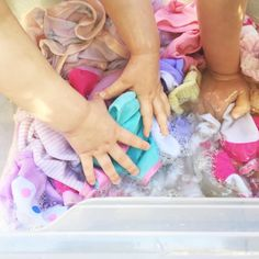 Pretend Play - Hand Washing Baby Clothes   @oliviasfoster