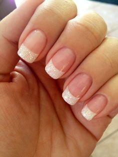 Subtle, elegant sparkle French tips, but more oval shape