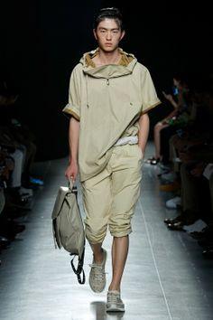 Fraying and sun-faded artisanal athleticism at Bottega Veneta SS15, Milan menswear. More images here: http://www.dazeddigital.com/fashion/article/20420/1/bottega-veneta-ss15