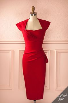 Sondra - Fabulous retro red fitted midi dress