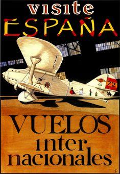 Visite España. Vuelos Internacionales. Spain Travel Poster