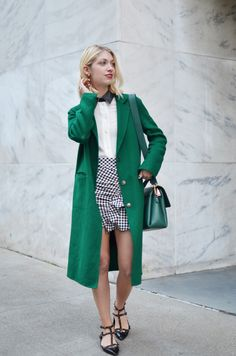 how to wear winter coats in spring, green long topcoat, gingham check, spring style, spring trends, valentino rockstud flats, how to wear gingham for spring