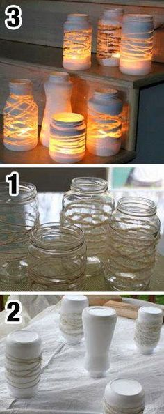 New Ideas For Diy Decoracion Hogar Manualidades Mason Jar Crafts, Bottle Crafts, Mason Jars, Bottles And Jars, Glass Jars, Navidad Diy, Creation Deco, Diy Candles, Bottle Art