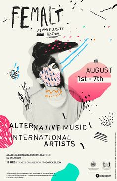 Creative layout ideas from 50 beautiful print and digital photo collages – Learn Femalt, Female Artist Festival / by Dough Rodas, via Behance Graphic Design Posters, Graphic Design Inspiration, Typography Design, Branding Design, Poster Designs, Poster Ideas, Typography Fonts, Lettering, Graphisches Design