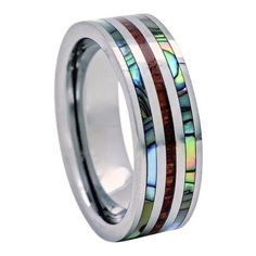 Abalone Koa Wood Ring Tungsten Carbide 8mm Comfort Fit Wedding Band #RJJewelers #Band