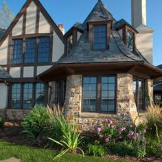 english tudor exterior with english cottage exterior traditional and plastic column mount mailboxes Roof Design, Exterior Design, House Design, Brick Design, Tudor Style Homes, Spanish Style Homes, English Tudor, English Style, Style At Home