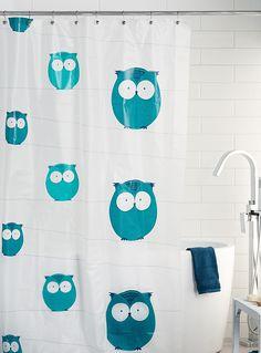 Le rideau de douche PEVA hiboux   Simons Maison   Magasinez des Rideaux de douche en Peva écologique   Simons Owl Shower, Curtains, Bathroom, Prints, Shower, Bath, Washroom, Blinds, Full Bath