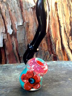 Turquoise Black and Pink Sculpted Glass Pipe by NorthLightGlass