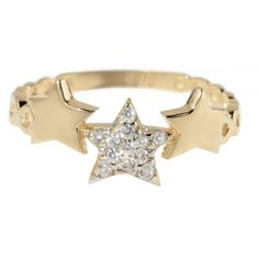 Talia Naomi - Wish Upon A Shooting Star Ring (€195) ❤ liked on Polyvore featuring jewelry, rings, galaxy ring, pave ring, 14k ring, cosmic jewelry and planet rings