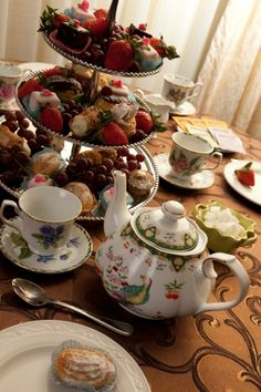 3-Tier tea party food ideas. - Mixture of different snacks on each tray rather than solely one snack on each tray.