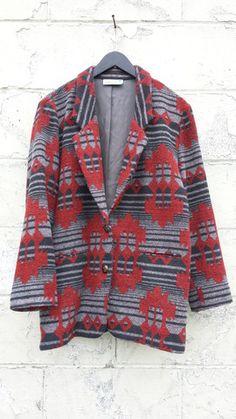 People Vintage // Tribal Oversized Blazer