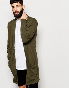 "Longline cardigan by ASOS Soft-touch jersey Open front Side pockets Super longline cut Cut longer than standard length Machine wash 100% Cotton Our model wears a size Medium and is 181cm/5'11"" tall"