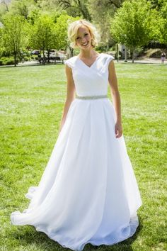 Isabel -  www.clairecalvi.com - Claire Calvi - #modest #wedding #dress, ballgown with sleeves cap sleeves.  This dress is on sale now for only $670!
