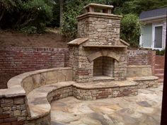 Pergola For Small Patio Outdoor Fireplace Patio, Outdoor Stone Fireplaces, Outside Fireplace, Outdoor Fireplace Designs, Fireplace Ideas, Indoor Outdoor, Outdoor Rooms, Outdoor Living, Outdoor Patios