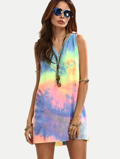 f8b00e24915 Multicolor Tie-dye V Neck Sleeveless Knotted Shift Dress -SheIn(Sheinside)  Dress