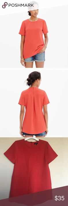 Madewell Tailored Tee Feminine drape tee with higher in front hem. Perfect for upcoming holiday. Style#B6208. In great condition Madewell Tops Tees - Short Sleeve