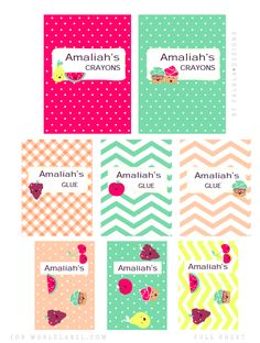 FREE Printable Back-to-School Labels and Book Note Covers by Falala Designs. These super cute Fruits and Cupcake themed printables are in ready to print PDF templates, editable and ready to personalize. For cover labels print on our full sheet labels. Have a great school year! Enjoy...  DOWNLOAD: �BACK TO ...