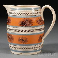 Make-Do Repaired Mochaware Jug, Britain, c. 1800, barrel-form pearlware jug with black