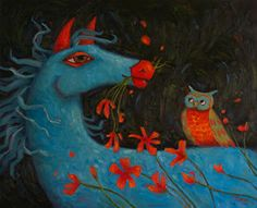 CINDY REVELL-FINDING THE WHIMSY: Romeo - Blue Horse and Owl Oil Painting
