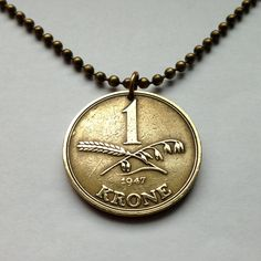 1947 Denmark 1 Krone coin pendant charm necklace Danish jewelry golden crown scandinavia Copenhagen Christian X polished coin Dane No.001206 by acnyCOINJEWELRY on Etsy