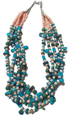 """Incredible five-strand turquoise nugget and spondulus shell heshi necklace with stamped sterling cone ends.  Great condition. 20"""" Circa: Ca. 1970s"""
