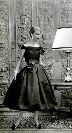 ~Italian Socialite Felicidade de Sousa Campos is wearing a Creation of Christian Dior in 1957~