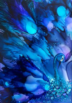 Wild Peacock ~Alcohol Ink on Yupo by Pamella Radwan