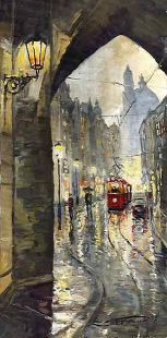 Gallery of artist Yuriy Shevchuk: Oil Cityscape Paintings, Prague Mostecka Street Old Tram