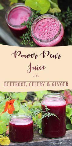 Power Pear Juice with Celery, Beetroot & Ginger – using whatever is in my fridge – Kind Earth Breakfast Drinks Healthy, Healthy Vegan Snacks, Vegan Breakfast Recipes, Yummy Drinks, Healthy Drinks, Eating Healthy, Vegan Food, Clean Eating, Eating Vegan