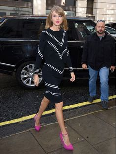 Match your hot pink lips to your ankle strap heels like Taylor Swift