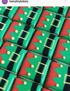 Elf body decoration on square cookie.