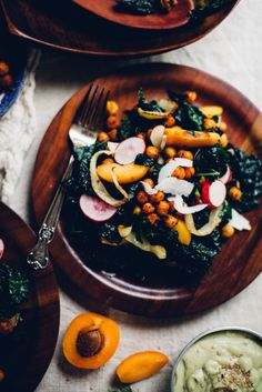 Crisp Chickpea + Kale Salad with Tahini Avocado Goddess Dressing | Will Frolic For Food