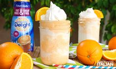 3 ingredients and 5 minutes is all that is standing between you and this fabulous Dreamy Orange Creamsicle Shake. It's bursting with orange flavor and is incredibly creamy. Orange Creamsicle Shake Recipe, Creamsicle Drink, Milkshake Recipes, Smoothie Recipes, Drink Recipes, Homemade Milkshake, Copycat Recipes, Fruit Drinks, Non Alcoholic Drinks