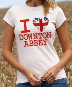 I Love Downton Abbey T-Shirt - Tee Shirt with Union Jack Heart