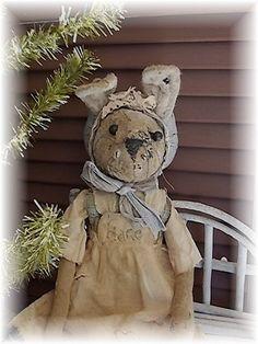 Grundgy Rabbit Primitive Rabbit Easter Bunny Spring by mustardseed, $69.99