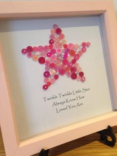 A personal favourite from my Etsy shop https://www.etsy.com/uk/listing/518815200/new-baby-button-art-frame-christening