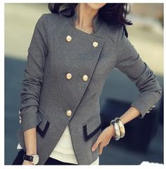 Find More Blazers Information about Spring Suit Jacket Women Double Breasted Short Coat Office Ladies Blazer Black/Grey Big Size,High Quality blazer hoodie,China blazers shoes for men Suppliers, Cheap jacket mink from Comme t'y es belle! on Aliexpress.com