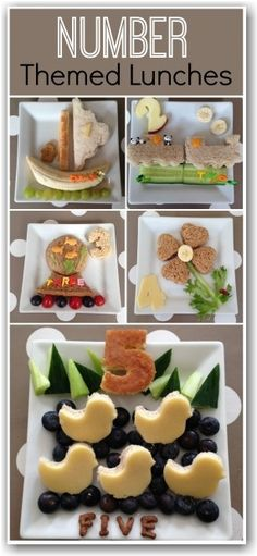 These number themed lunches are so cute. Great for birthdays or for kids just learning their numbers. You will love how adorable number 5 i. Cute Snacks, Lunch Snacks, Cute Food, Good Food, Yummy Food, Toddler Meals, Kids Meals, Bento, Childrens Meals
