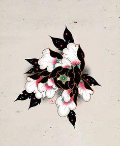 Japanese Flower Tattoo, Japanese Tattoo Designs, Japanese Flowers, Flower Tattoo Drawings, Flower Tattoo Designs, Flower Tattoos, Peony Drawing, Floral Drawing, Flor Oriental Tattoo