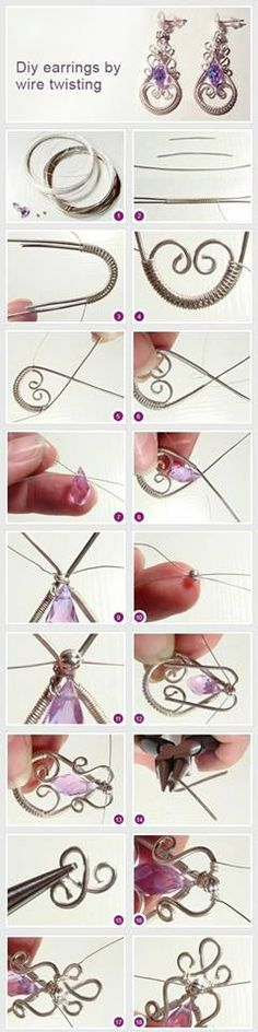 How to make earrings in the wire wrap technique