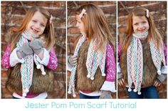 Jester Cuddle Scarf With Pom Poms Tutorial - DIY Crush @DIYCrush - features Mini Zig Zag Cuddle Coral/Breeze/Cappuccino http://bit.ly/1o75OrU