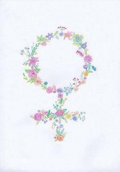 Símbolo feminino-flores