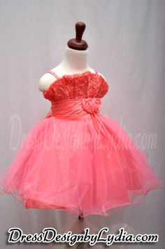 Cheap Pageant Dresses and Flower Girl Dresses For Less - Orange Rose Embroidered Organza Formal Flower Girl Dress