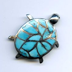 Vtg 1970s Sterling TURTLE Inlay Turquoise Southwestern Brooch Pin 8.5 Grams #NotSigned