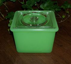 Jadite Clambroth Storage Box with Crystal Cover - For sale on Ruby Lane