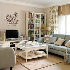 beige, blue, white living room