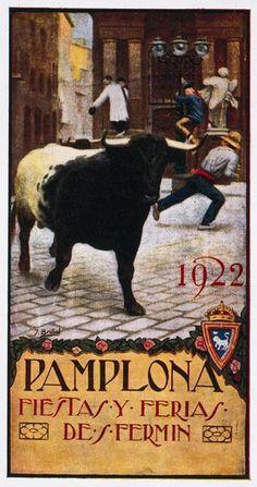 Cartel de los Sanfermines de 1922 - Fiestas y ferias de San Fermín, Pamplona :: Autor: Andrés Briñol #Pamplona