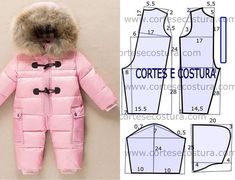 Moda y Patrones - Try Tutorial and Ideas Baby Girl Dress Patterns, Doll Dress Patterns, Baby Patterns, Baby Sewing Projects, Sewing For Kids, Knitted Baby Outfits, Girls Winter Outfits, Baby Snowsuit, Free To Use Images