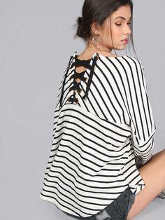 t-shirt oversize avec des lacets-French SheIn(Sheinside)